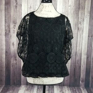 Alice + Olivia Cheryl Lace Batwing Blouse in Black